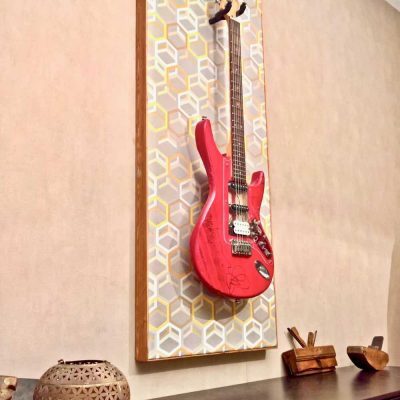 Guisplay Geometrik Wall Hanger Support Guitar Display Stand Geometric Fabric Art Framed Creation23(watermarked)