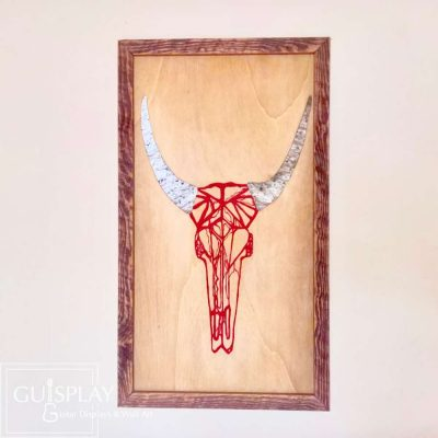 GUISPLAY Cow Red Marquetry Stone Wood Inlay Wall Art Creation 5(watermarked)