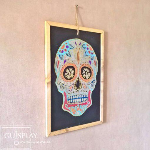 Guisplay Mexican Skull Silver Slate Framed10