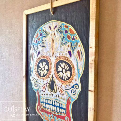 Guisplay Mexican Skull Silver Slate Framed11